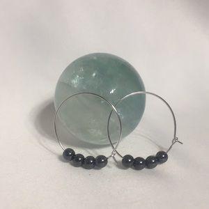HEMATITE Gemstone Hoop Earrings- NEW
